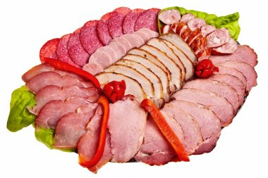 Dish with sliced ham, salami, sausage.