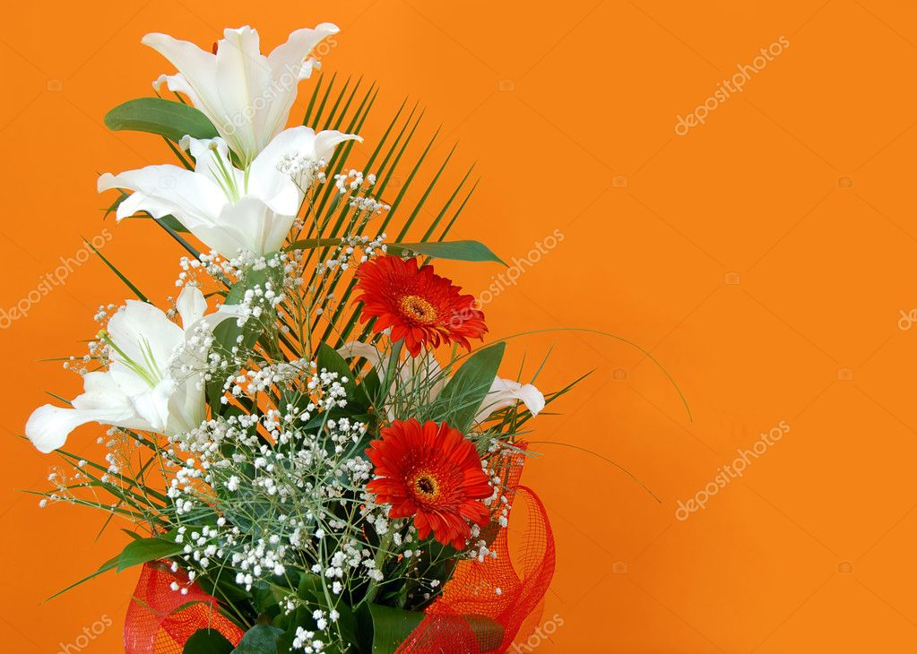 Flower bouquet over orange