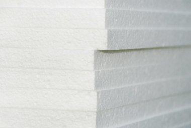 White styrofoam tables pile corner, construction materials stock vector