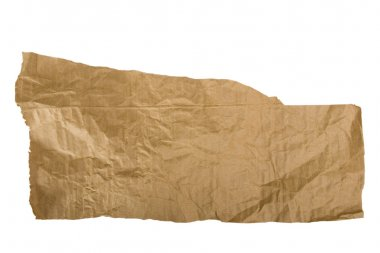 Piece of brown paper, torn on white