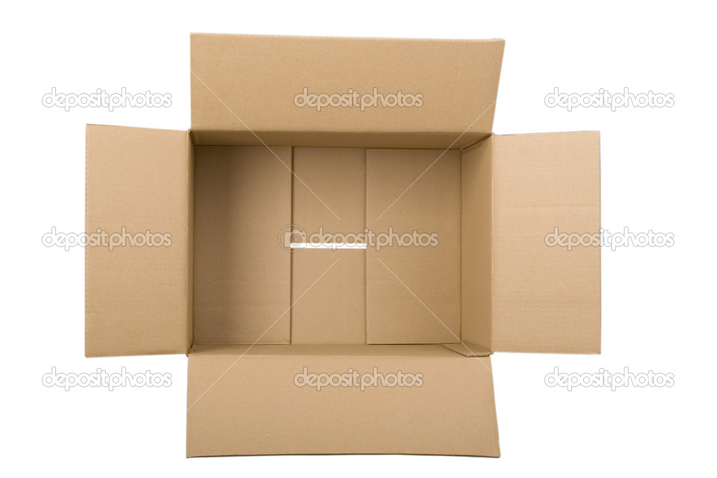 Open corrugated cardboard box