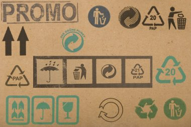 Different symbols from cardboard boxes
