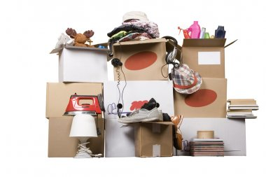 Transport cardboard boxes, relocation concept