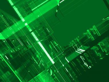 Abstract green matrix luminous background