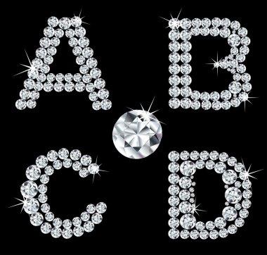 Set of diamond alphabetic letters . Vector