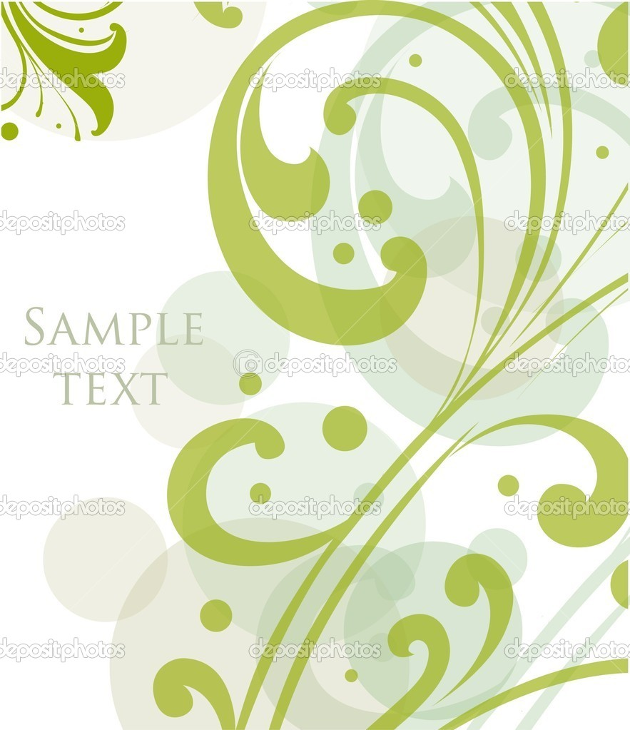Decorative floral green background. Vector