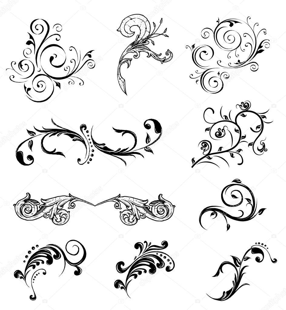 Set different ornamental elements. Vector