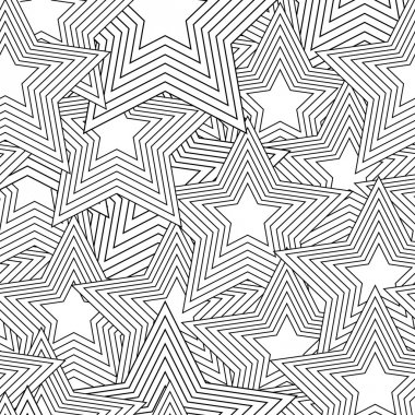 Retro black and white seamless star