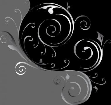 Black and silver floral background. Vector