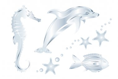 Silver Sea Animals, Isolated on White