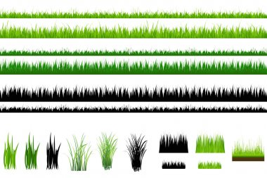 Set Of Grass, Green and Outline, Isolated On White stock vector