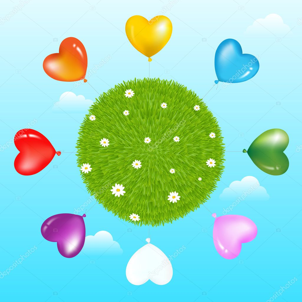 Ballons Around Grass Ball With Flowers