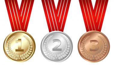 Golden, Silver, Bronze Medals, Isolated On White clip art vector