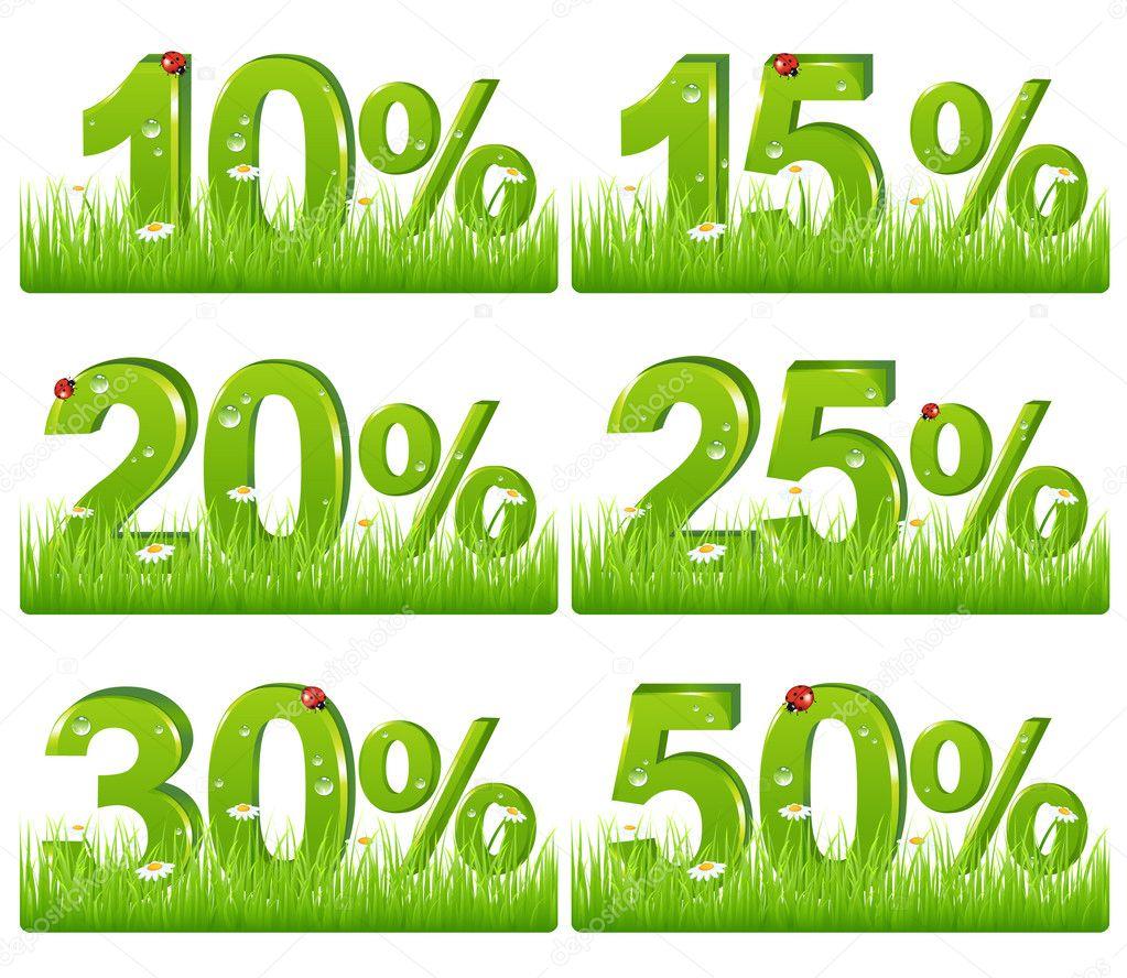 9f91b30b10c4 Descuento verde figuras en pasto — Archivo Imágenes Vectoriales ...