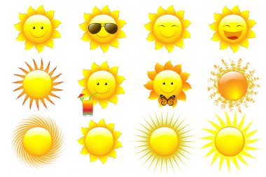 Vector Set Cartoon Sun Characters, isolated On White stock vector
