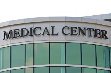 Medical Center Sign over New Hospital Entrance stock vector