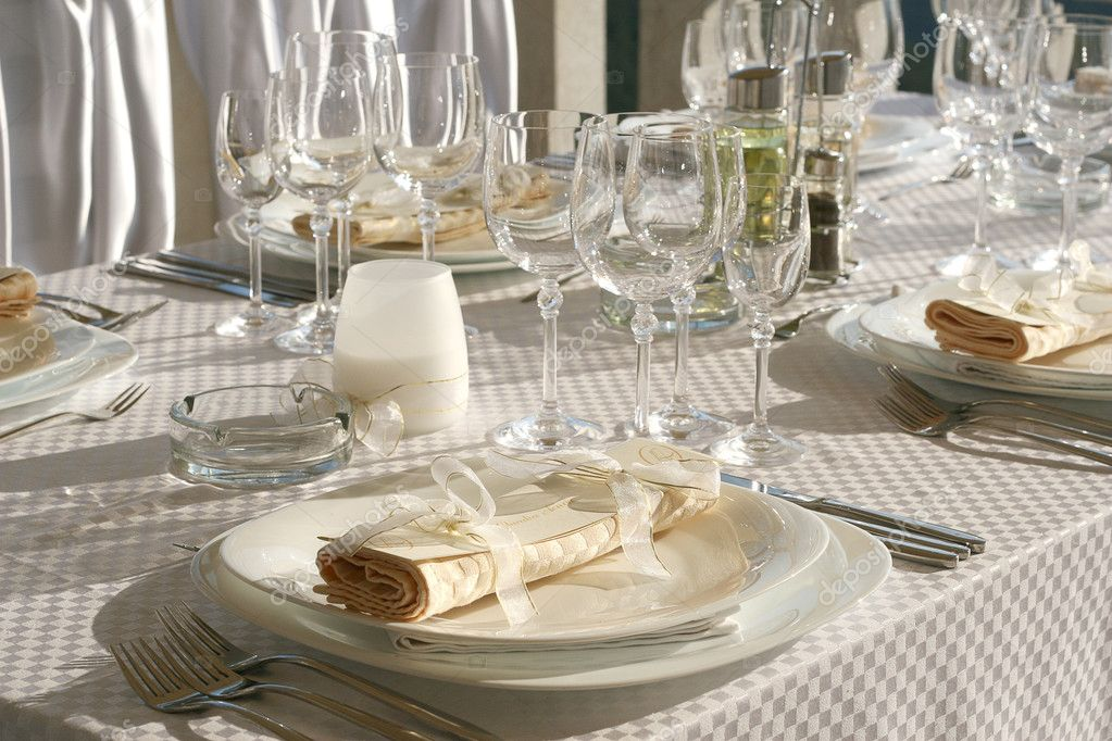 fancy table set for a wedding dinner stock photo