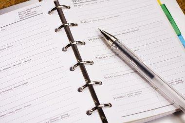 Pen on schedule book