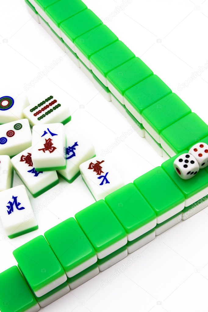 Mahjong Tiles Aligned And Two Dices Stock Photo Cozyta