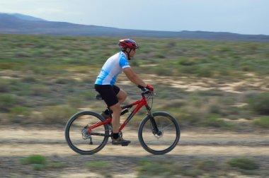 Mountain biker on old road in desert