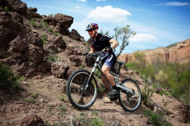 Mountain biker in wild desert