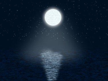 Moonlit night with stars