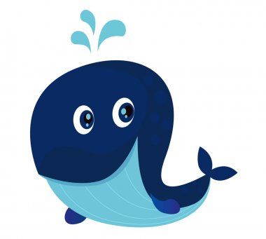 Big blue ocean cartoon whale