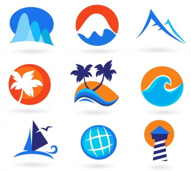 Vacation travel and holiday summer icons