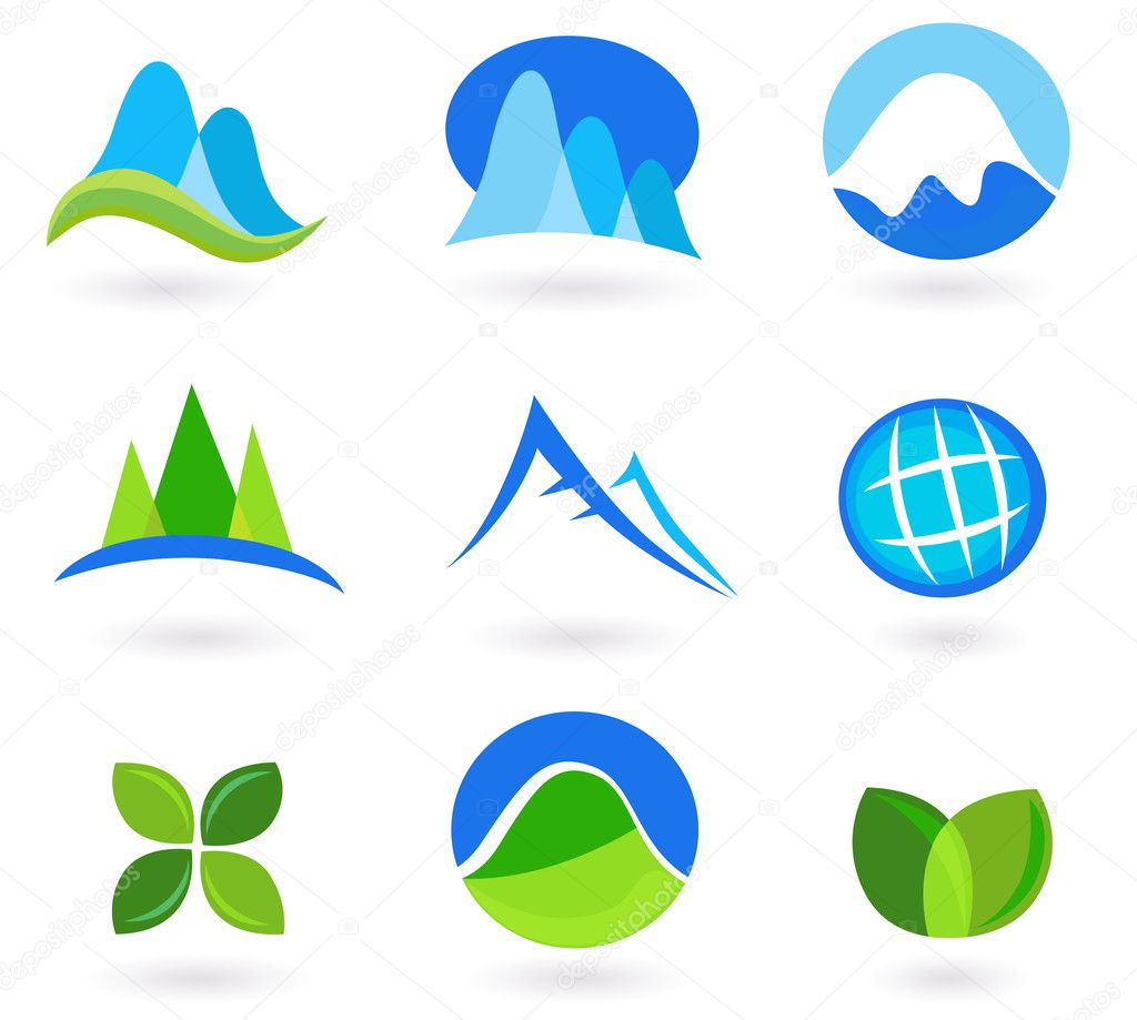 Nature, mountain and turism icons - blue