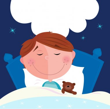 Small boy with his teddy bear sleeping
