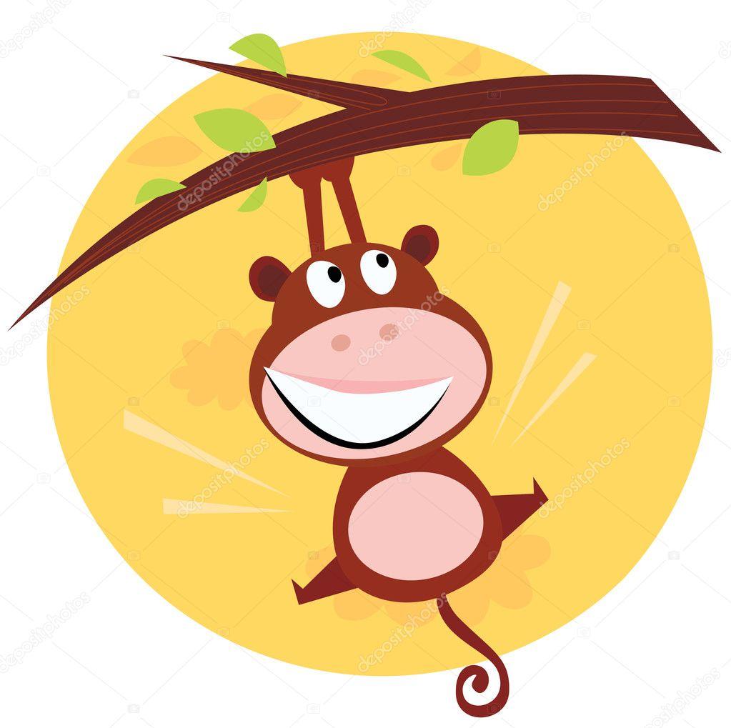 brown cute monkey hanging from tree u2014 stock vector beeandglow