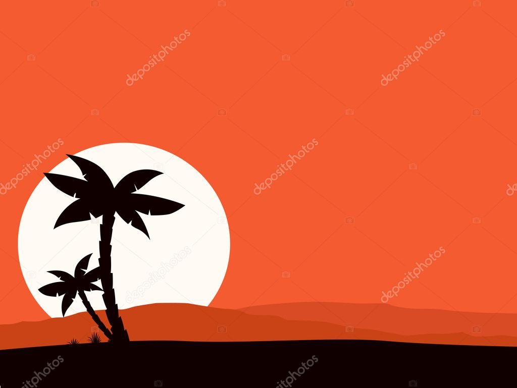 Retro holiday red background with sunset