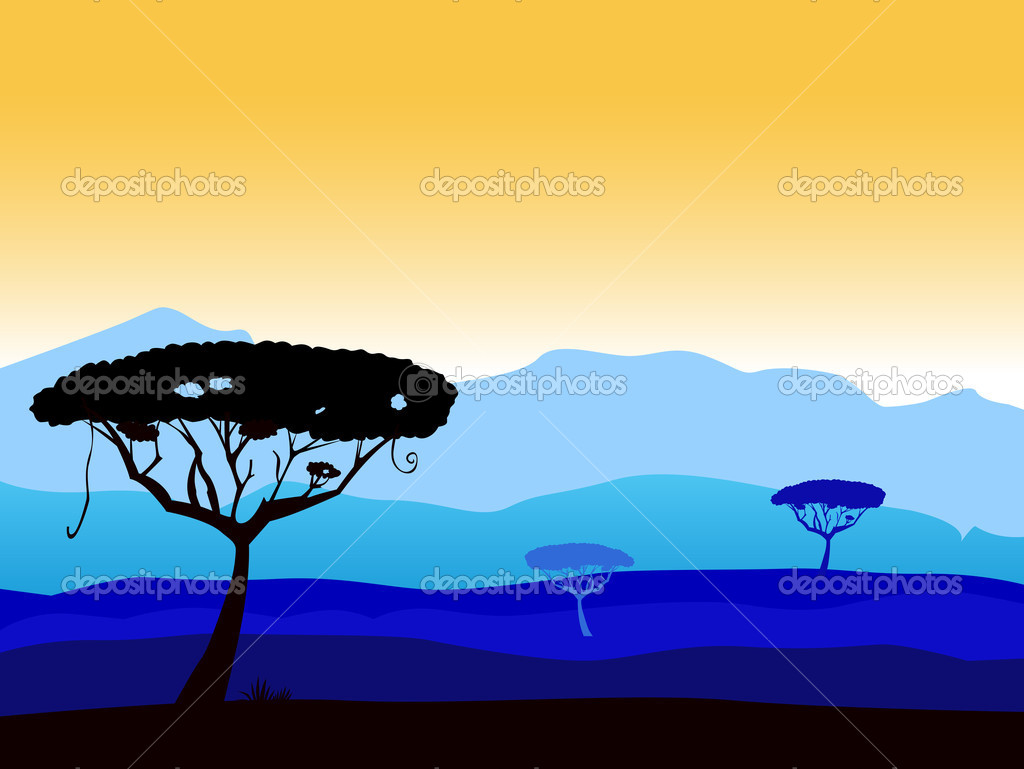 African safari background with tree