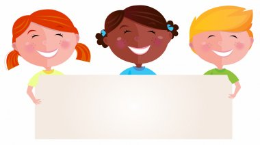 Vector Illustration of multicultural children. Blank space for your message. clip art vector