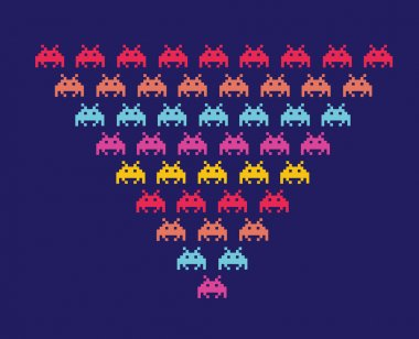 Space invaders vector - isolated on black