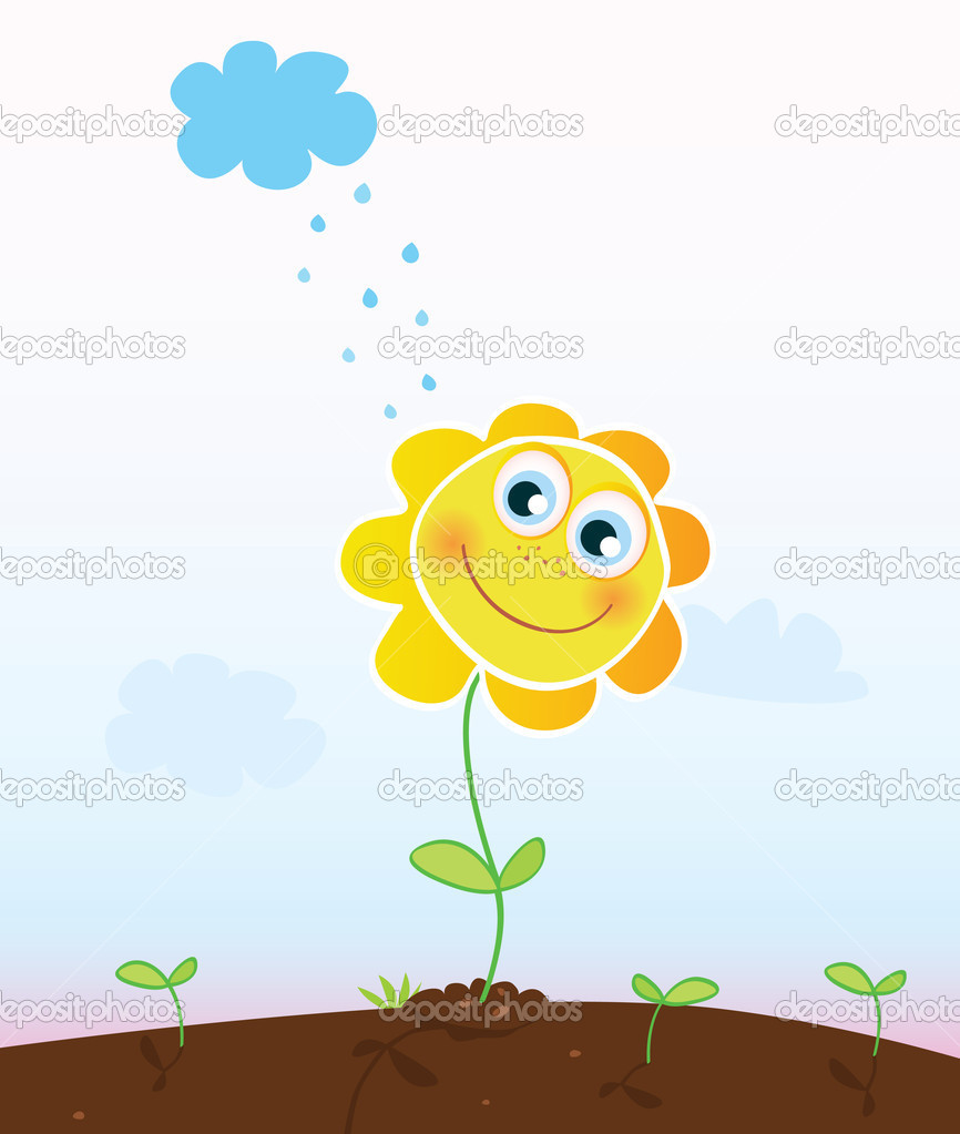 Happy spring flower and raining sky