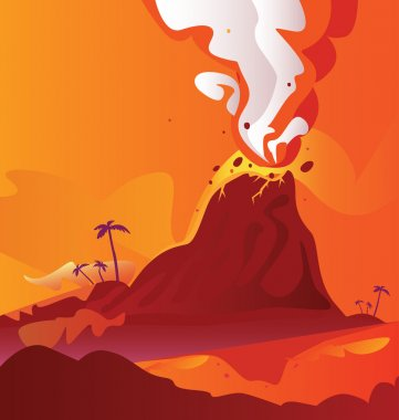Volcano with burning lava