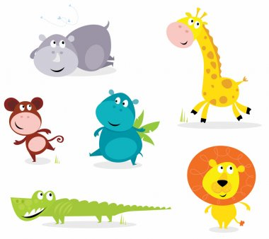 Vector cartoon illustration of six cute safari animals