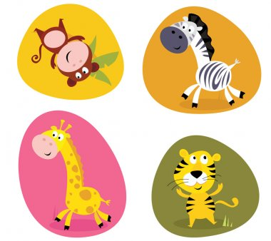 Illustration set of cute safari animals