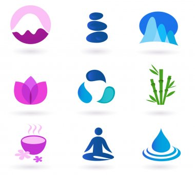 Wellness, relaxation and yoga icon set. Vector