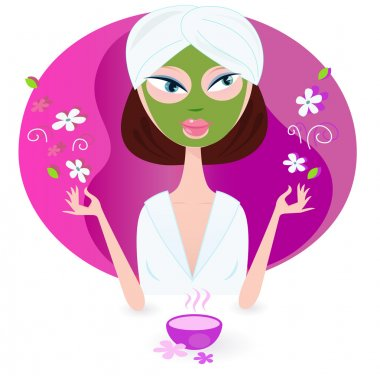 Young woman is practicing aromatherapy with nature flowers. Vector illustration of beauty girl isolated on pink background. clip art vector