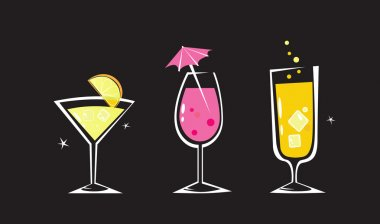 Martini, Wine and Cocktail glass. Take hot summer mixed drinks! Vector illustration. stock vector