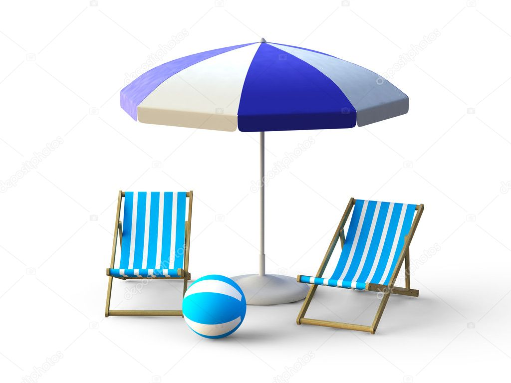 Beach chair umbrella - Beach Chair And Umbrella Stock Image