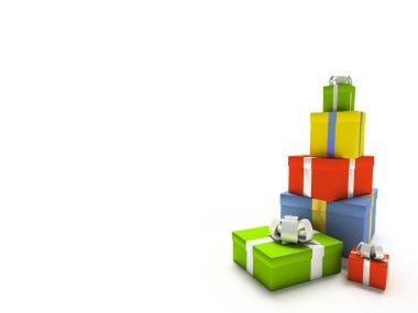 Colour gift boxes on white background