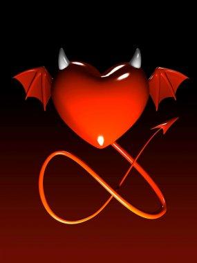 Red heart-devil