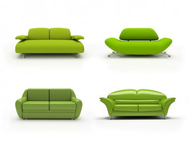 Green four modern sofas
