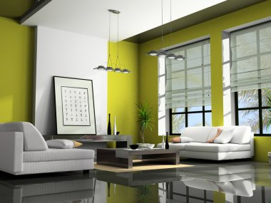 Home interior with sofas