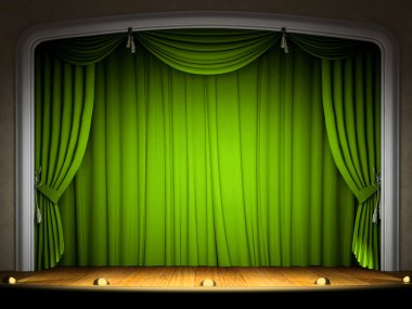 Empty stage with green curtain