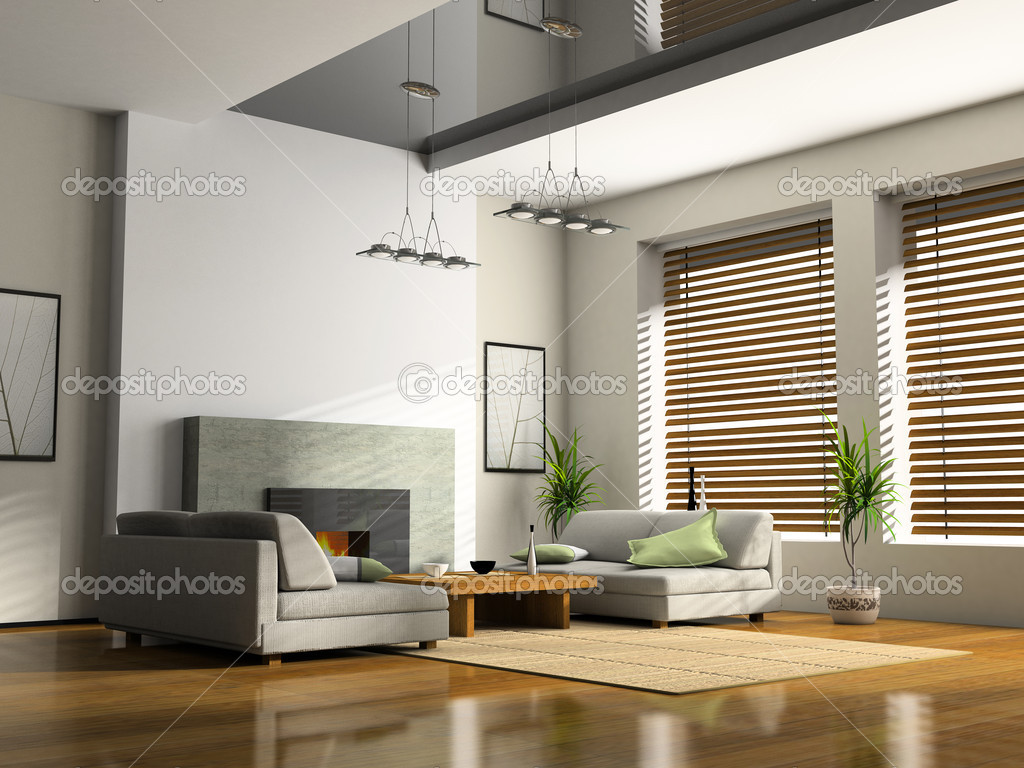 Home interior with fireplace and sofas