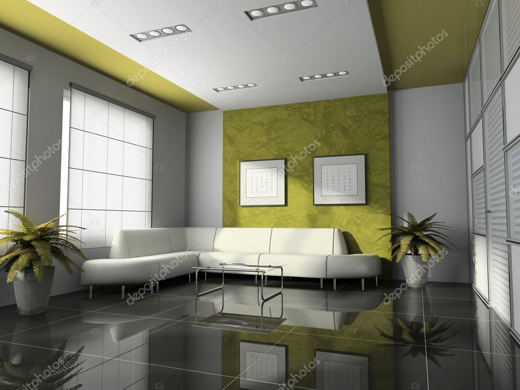 Office interior 3d rendering stock photo hemul75 2766266 - Cuisine verte et blanche ...